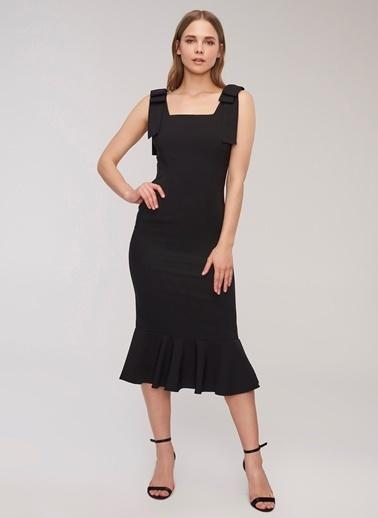 People By Fabrika Bağlama Detaylı Elbise Siyah